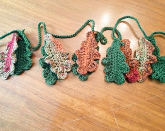 Fall Leaves Crochet Garland, Autumn/Harvest/Halloween/Thanksgiving Decor, Handmade Bunting