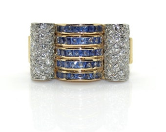 Ring Tank diamonds and sapphires