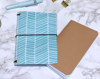 Blue Field Notes Cover // Pocket Passport Bullet Journal Bujo Cover - Fabric Planner Cover - Fabricdori - Notebook Organizer