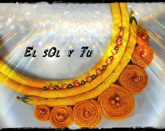 orange necklace EL SOL Y TU - batik in shades of yellow - magic beads sewn fabric - slices of dyed linen thread