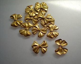 12 tiny brass bow charms