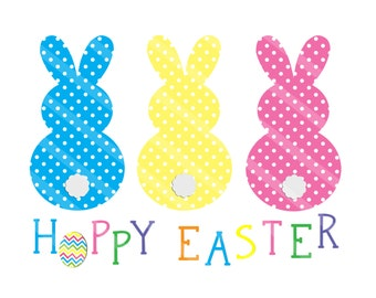 Hoppy Easter Digital Download for iron-ons,heat transfers, T-Shirts, Onesies, Bibs, Towels, Aprons, DIY YOU PRINT