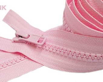 27 inch 25 Zippers Vislon YKK 5 Molded Plastic Medium Weight Separating - Pink x5 - Blackx5 - Whitex10 and Lime Greenx5