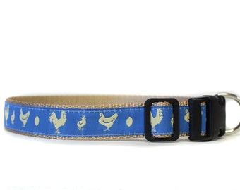 1 Inch Wide Dog Collar with Adjustable Buckle or Martingale in Rule the Roost Blue