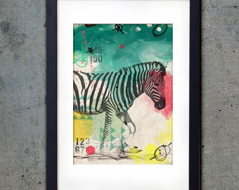 Zebra -  PRINTABLE - Art Print 5 X 7 - Nursery Downloadable Digital