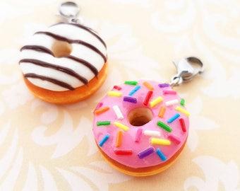 Handmade Donut Charm, Necklace or Keychain - Polymer Clay Donut Charm - Miniature Food Jewelry - Donut Necklace - Donut Keychain - Doughnut