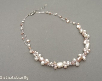 White pink peach freshwater pearl necklace on silk thread, bridesmaid necklace
