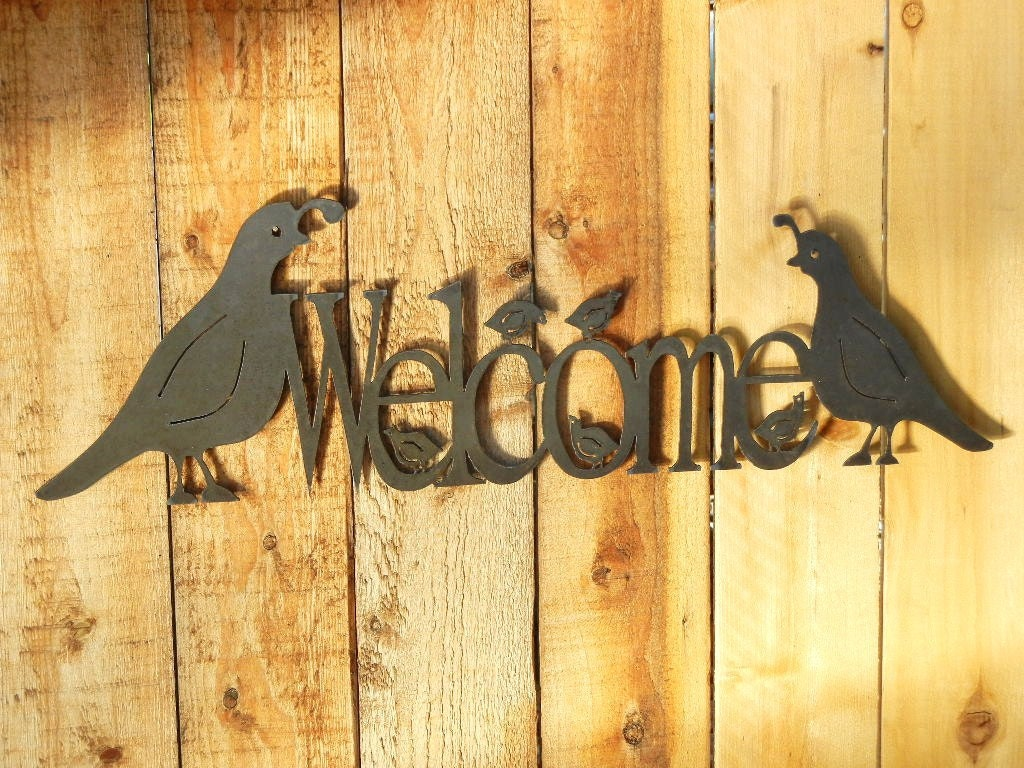 Quail Family Welcome Metal Word Art for Outoors or Indoors