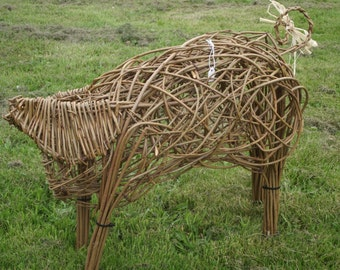 Handcrafted Willow Piglet. Ideal for indoor or outdoor use