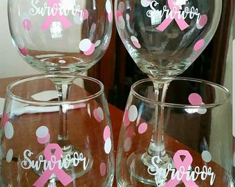 Breast Cancer Survivor Wine Glasses Breast Cancer Awareness Pink