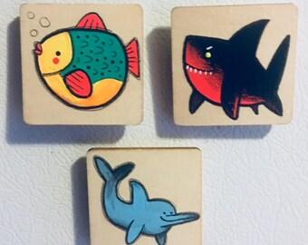 Fish, Shark, Dolphin Magnet Set