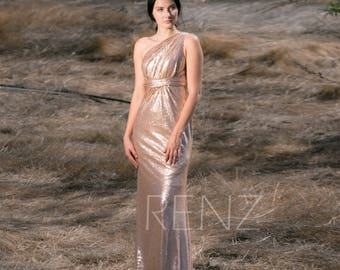 Bridesmaid Dress Tan Sequin Dress,Wedding Dress,Ruched One Shoulder Maxi Dress,Slightly Empire Waist Party Dress,Fitted Evening Dress(TQ219)