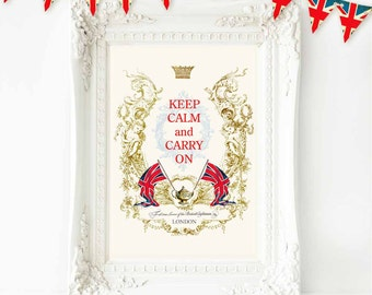 Keep Calm and Carry On print with Union Jack, British flag, kitchen decor in red, white, blue and gold, A4 giclee