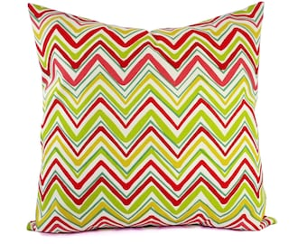 Two Outdoor Pillow Covers - Pink and Green Pillows - Patio Pillows - Outdoor Pillows - Red Pillow Cover - Green Pillow - Chevron Pillow