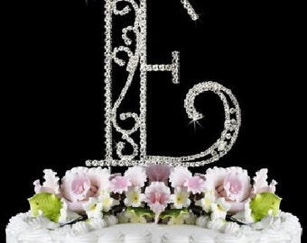 "Beautiful Crystal Rhinestone Silver Letter ""E"" Monogram Wedding, Anniversary & Birthday Cake Topper *FREE SHIPPING*"