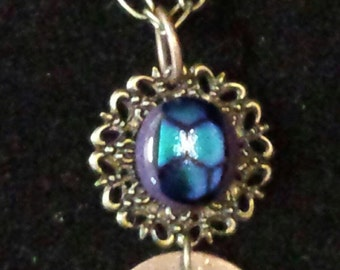 Dichroic Glass Steampunk Necklace - Listen