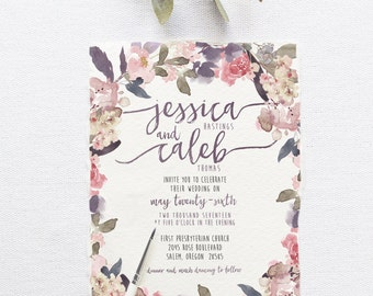 Custom wedding invitations stationery by splashofsilver on etsy romantic garden wedding invitation suite deposit diy rustic chic watercolor calligraphy solutioingenieria Image collections