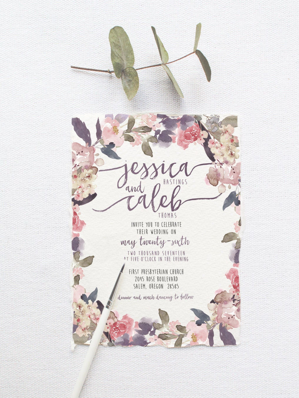 Romantic Garden Wedding Invitation Suite DEPOSIT DIY