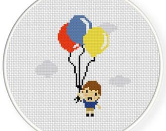 Boy with Balloons PDF Cross Stitch Pattern Needlecraft - Instant Download - Modern Chart