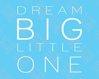 """Dream Big Poster Print - Blue with White (11""""x14"""")"""