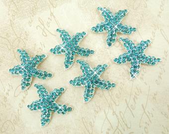 6pcs STARFISH Rhinestone Button 30mm Aqua Blue Teal Silver Plated Metal Buttons Beach Wedding Embellishments Center Crystal Fashion Button