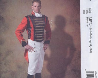McCall's 7457 Men's Regency Military Uniform Napoleon Costume Jacket Pants Ascot UNCUT Sewing Pattern