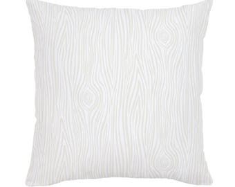Ivory Woodgrain Throw Pillow by Carousel Designs. Made in the USA.