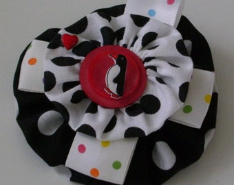 Barrette Features Yo Yos, Ribbon, Heart Charm, Penguin, Button
