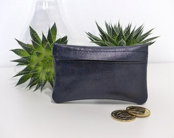 Leather wallet / / blue