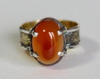 Fire Opal Tri-metal Ring