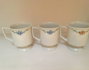 vintage floral footed mugs, set of 3 small pedestal coffee tea cups, by Stewart, feminine tea party, shabby chic decor