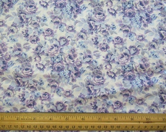 Purple Floral on White Background, Light Weight - Marcus Brothers - 1/2 Yard  P-1/2-12