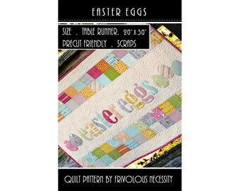 Quilt Pattern PDF Easter Eggs Applique Table Runner -- Scrap Friendly