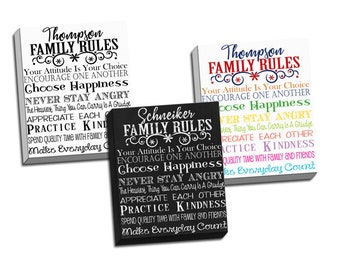Personalized Room Decor - Family Rules Canvas Art - Canvas Prints