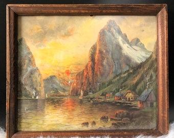 Vintage Mountain Painting+Acrylic Mountain Lake Painting+Framed Original Mountain Painting+Mountain Landscape Painting+Vintage Art
