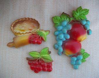 Miller Studio Chalk Ware Fruit 1979 Set of 3 Cherries Grapes Apples
