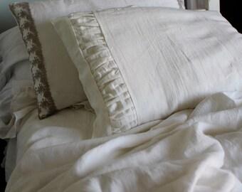 Linen pillow - Ivory ruffles pillow sham - linen pillowcase - linen pillow cover- Ruffled pillow cover-Available sizes #Middle Earth#