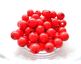 50 wooden pacifier clip 8mm - red beads