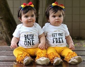 twin baby gift - baby shower gift - bodysuit - twin outfit - twin girls - baby gift - boy girl twin outfit - girls - funny