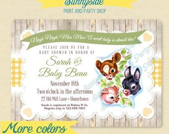 Baby Farm Animals Baby Shower Invitation, Printable Shower Invitation, Farm Vintage Baby Invite - Any color