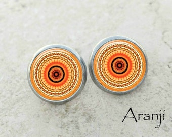 Orange mandala earrings, mandala earrings, orange earrings, kaleidoscope stud earrings, orange stud earrings, mandala stud earring PA128E
