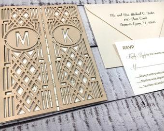 Blush/Chardonnay Wedding Invitation, Laser Cut Wedding Invitation