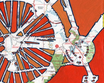 Moab - large print -  20x20 & 24x24 -- Arches, Canyonlands, Goblin valley, Utah - mountain bike, bicycle art, bike print, map art