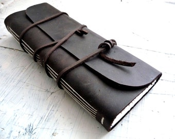 Leather journal. landscape leather journal. Long journal. Landscape sketchbook. Waxed leather