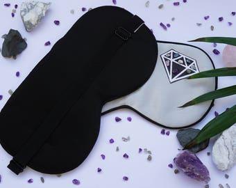Crystal Sleeping Mask - Silk Eye Mask - Natural Crystal Healing - Crystals for Sleep - With Satin Spar Selenite Charging Slab