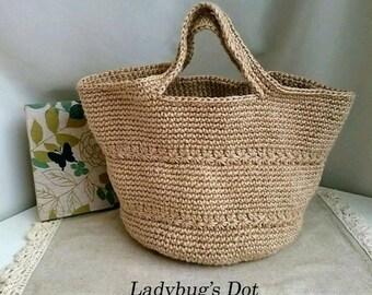 Hemp Marche bag round bottom star crochet pattern M