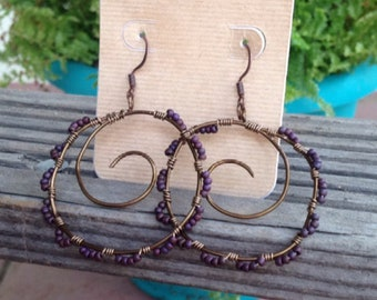 Hand wrapped brass hoop earrings