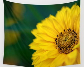 Yellow Daisy Tapestry Wall Hanging Decor, Macro Photography Nature Prints Wall Art, Yellow and Green Wall Art Large, Big Tapestry