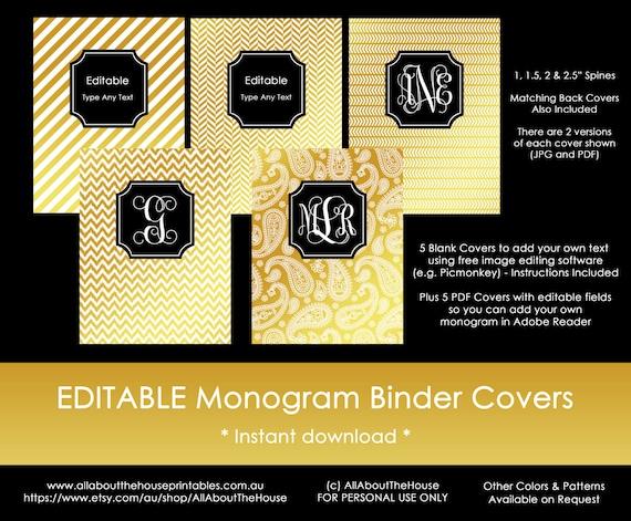 Gold Monogram Binder Cover and Black spine chevron polka dot