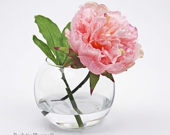 Light pink, blush, silk, peony/peonies, glass vase, faux water, Real Touch flowers, floral arrangement, centerpiece, wedding, decor, gift